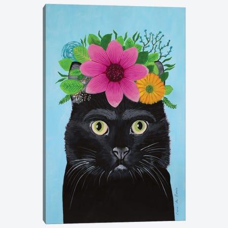 Frida Kahlo Black Cat - Blue Canvas Print #COC403} by Coco de Paris Canvas Artwork