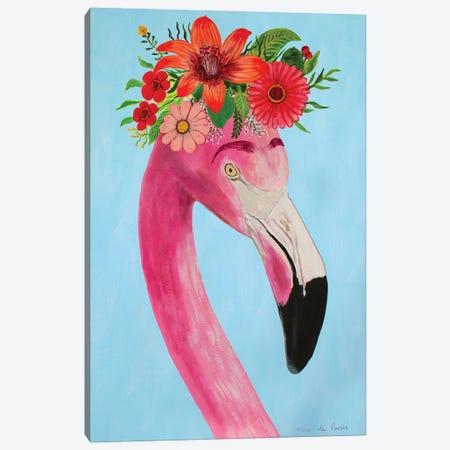 Frida Kahlo Flamingo - White Canvas Print #COC405} by Coco de Paris Canvas Print