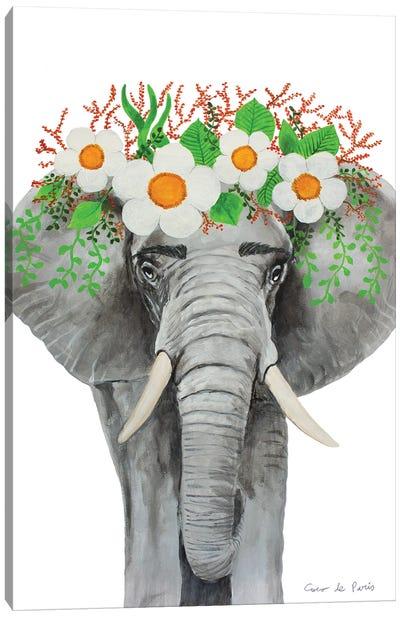 Frida Kahlo Elephant - White Canvas Art Print