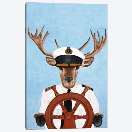 Captain Deer Canvas Print #COC410} by Coco de Paris Canvas Art Print