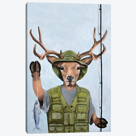 Fisherman Deer Canvas Print #COC411} by Coco de Paris Canvas Art Print