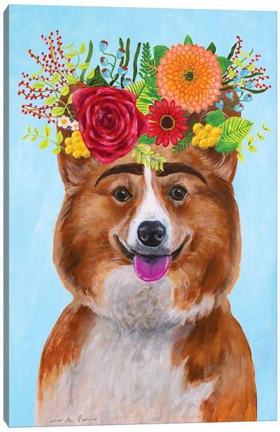 Frida Kahlo Corgi Canvas Art Print