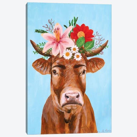 Frida Kahlo Cow Canvas Print #COC413} by Coco de Paris Canvas Print
