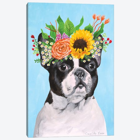 Frida Kahlo French Bulldog Canvas Print #COC418} by Coco de Paris Canvas Art Print