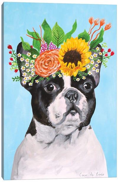 Frida Kahlo French Bulldog Canvas Art Print