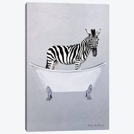 Zebra in bathtub Canvas Print #COC419} by Coco de Paris Canvas Art Print