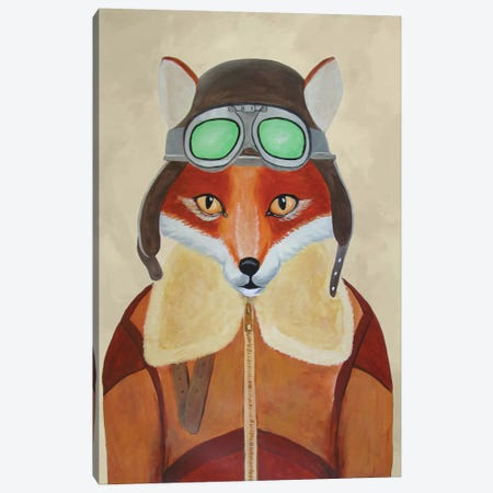 Fox Aviator Canvas Print #COC41} by Coco de paris Canvas Wall Art