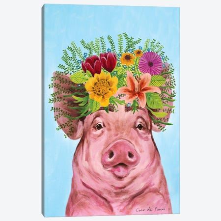 Frida Kahlo Pig Canvas Print #COC423} by Coco de Paris Canvas Art