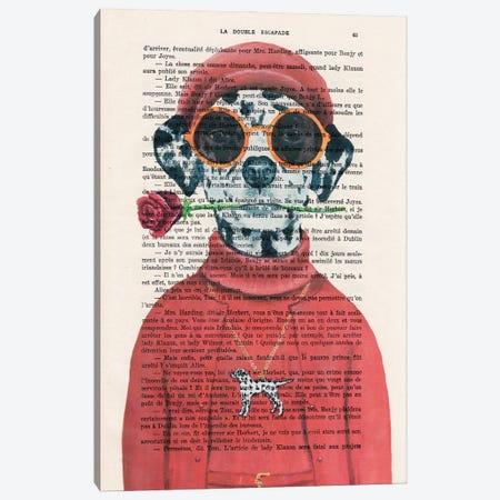 Dalmatian With Red Flower Canvas Print #COC429} by Coco de Paris Canvas Wall Art