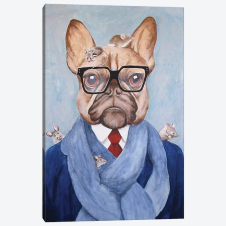 French Bulldog With Mice Canvas Print #COC42} by Coco de Paris Canvas Artwork