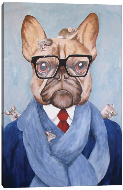 French Bulldog With Mice Canvas Art Print