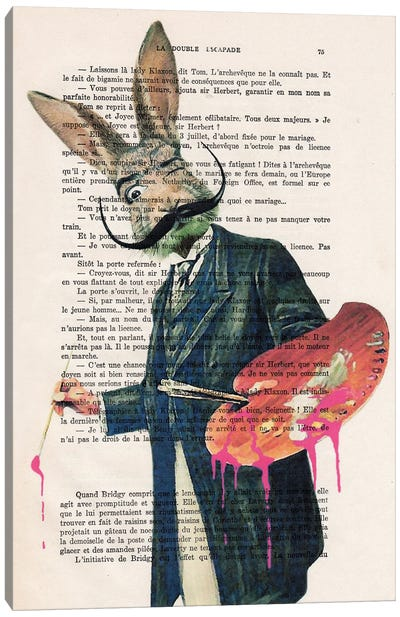 Dali Rabbit Painter Canvas Art Print