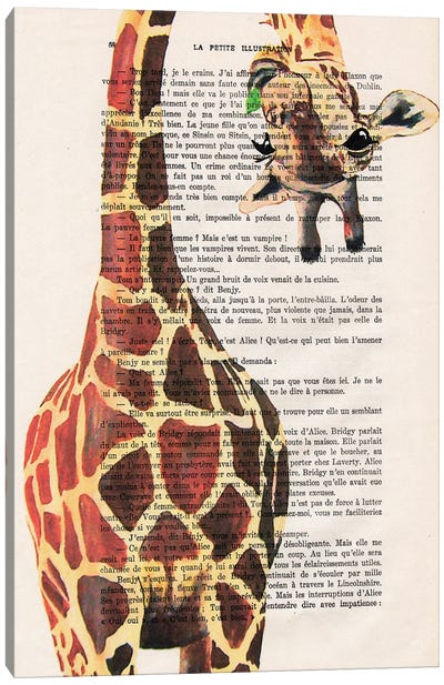Giraffe Upside Down II Canvas Art Print