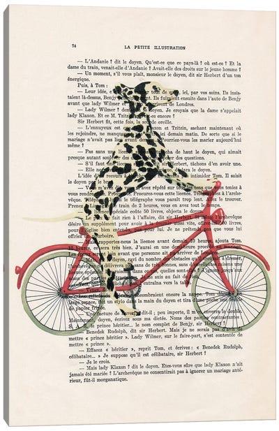 Dalmatian Cycling Canvas Art Print