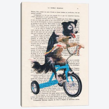 Doggy On Bicycle Canvas Print #COC436} by Coco de Paris Canvas Art