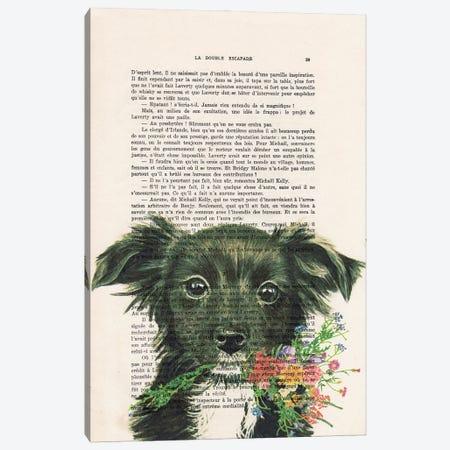 Doggy With Flowers Canvas Print #COC437} by Coco de Paris Canvas Artwork