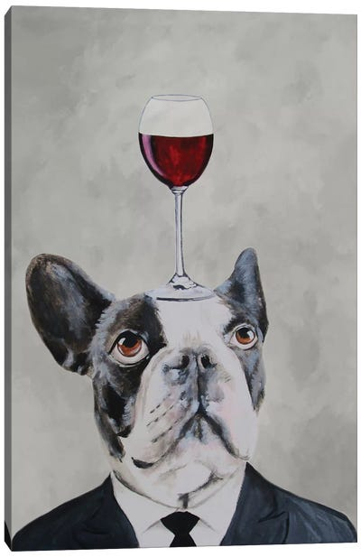 French Bulldog With Wineglass Canvas Art Print