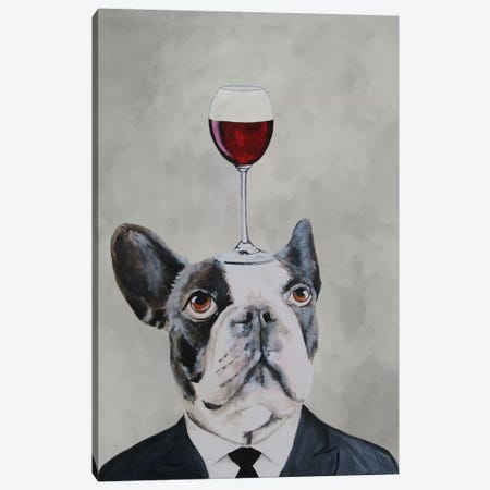 French Bulldog With Wineglass Canvas Print #COC43} by Coco de Paris Canvas Wall Art