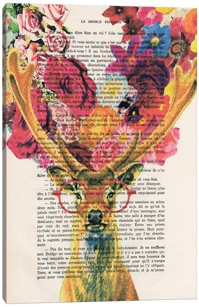 Flower Deer Canvas Art Print