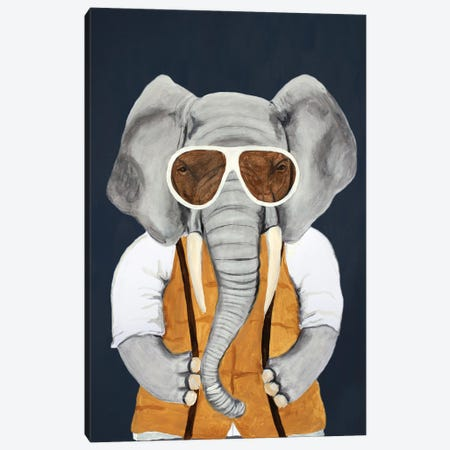 Vintage Elephant Man Canvas Print #COC445} by Coco de Paris Art Print