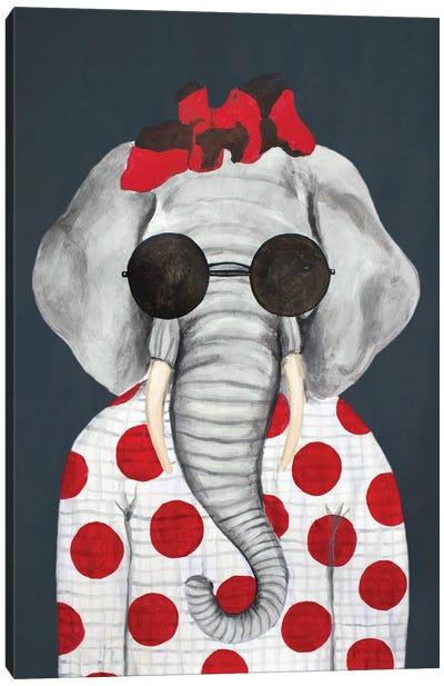 Vintage Elephant Woman Canvas Art Print