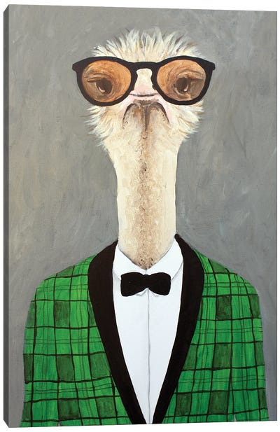 Vintage Ostrich Canvas Art Print