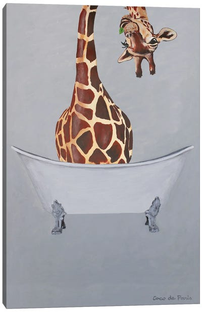 Giraffe In Bathtub Canvas Art Print