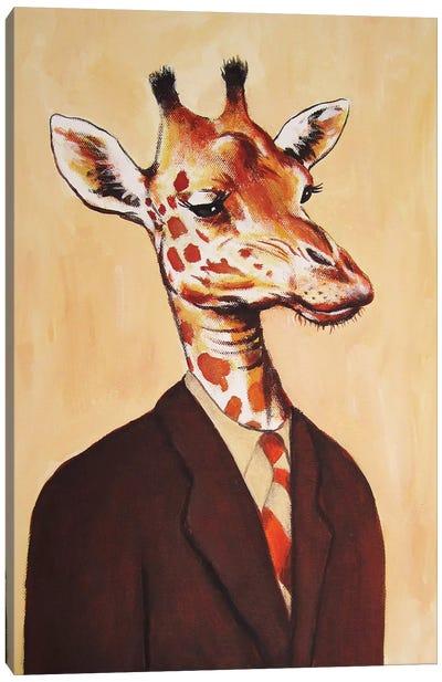 Giraffe Gentleman Canvas Print #COC44