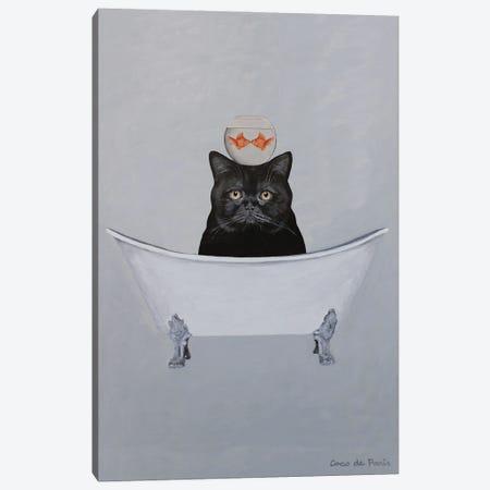 Black Cat In Bathtub Canvas Print #COC450} by Coco de Paris Art Print