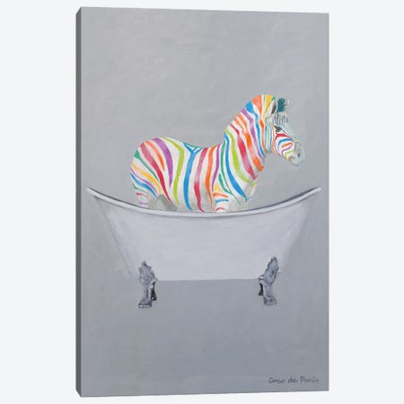 Rainbow Zebra In Bathtub Canvas Print #COC452} by Coco de Paris Art Print