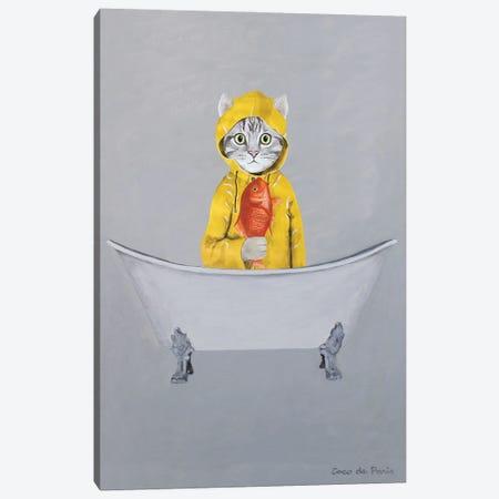 Cat With Goldfish In Bathtub Canvas Print #COC453} by Coco de Paris Canvas Print