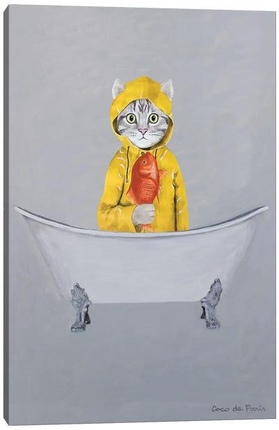 Cat With Goldfish In Bathtub Canvas Art Print