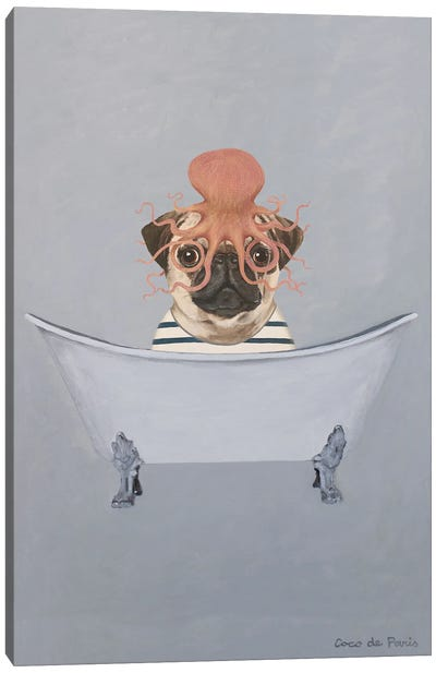 Pug With Octopus In Bathtub Canvas Art Print