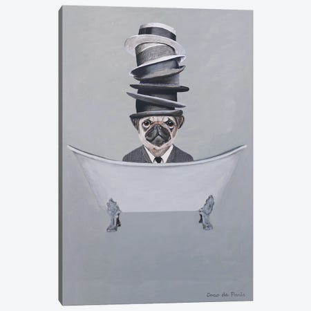 Pug With Stacked Hats In Bathtub Canvas Print #COC460} by Coco de Paris Canvas Wall Art