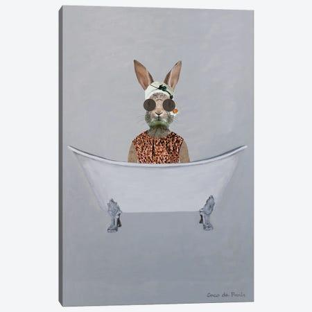 Vintage Rabbit In Bathtub Canvas Print #COC461} by Coco de Paris Canvas Artwork