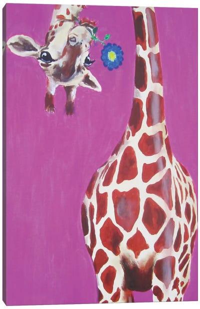 Giraffe With Blue Flower Canvas Print #COC46