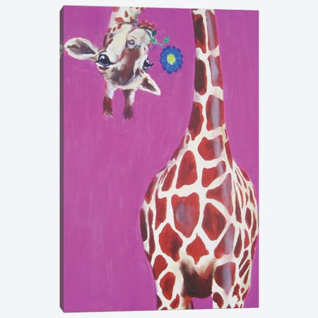 Giraffe With Blue Flower Canvas Print #COC46} by Coco de Paris Canvas Art Print