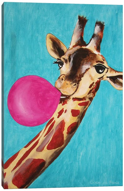 Giraffe With Bubblegum Canvas Art Print