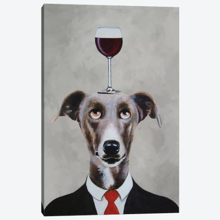 Greyhound With Wineglass Canvas Print #COC48} by Coco de paris Canvas Wall Art