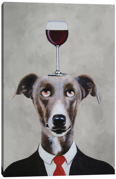 Greyhound With Wineglass Canvas Print #COC48