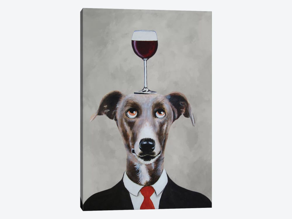 Greyhound With Wineglass by Coco de Paris 1-piece Canvas Artwork