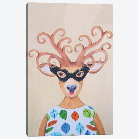 Masked Deer Lady Canvas Print #COC53} by Coco de Paris Art Print
