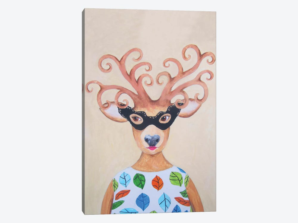 Masked Deer Lady by Coco de paris 1-piece Canvas Art