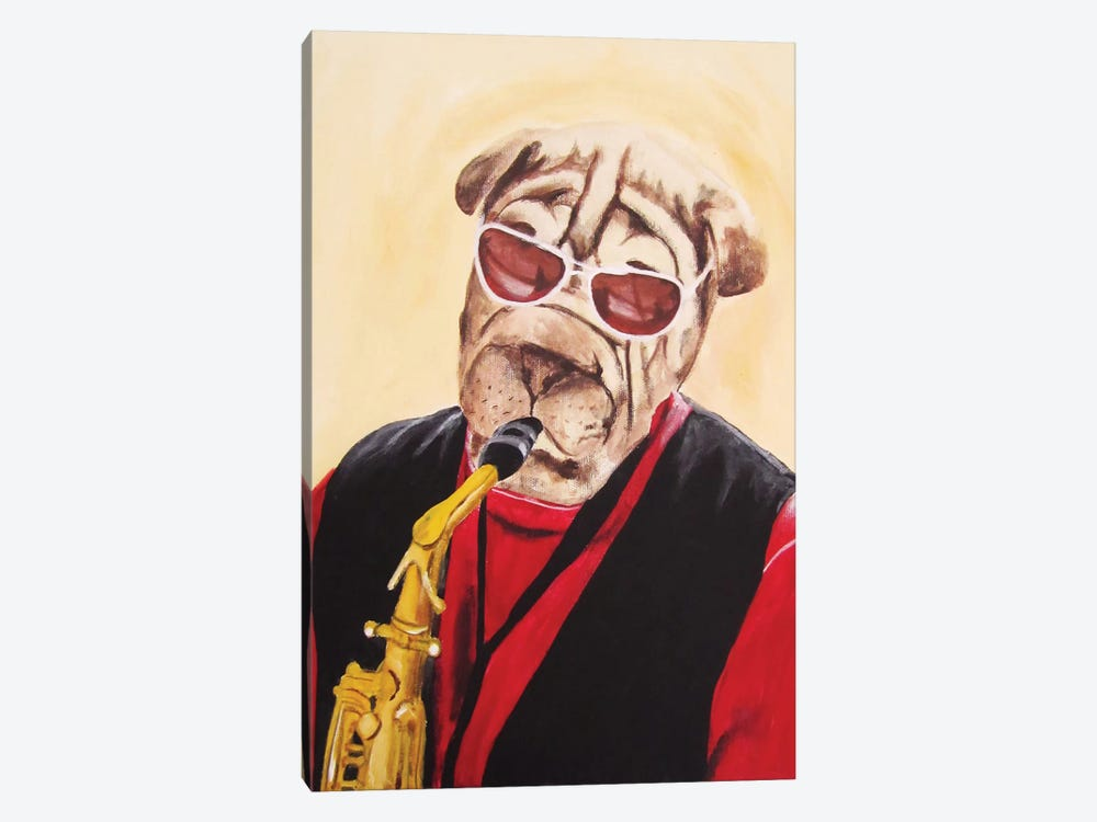 Musician Dog by Coco de paris 1-piece Canvas Print