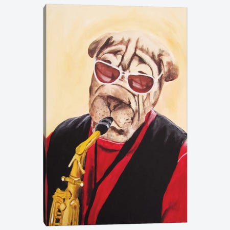 Musician Dog Canvas Print #COC56} by Coco de Paris Canvas Artwork