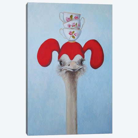 Ostrich With Stacked Teacups Canvas Print #COC57} by Coco de Paris Canvas Art