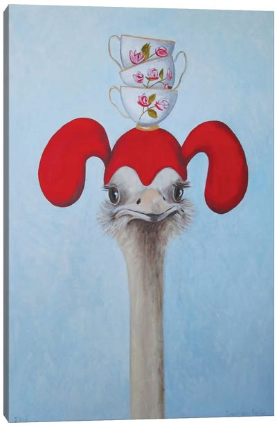 Ostrich With Stacked Teacups Canvas Art Print
