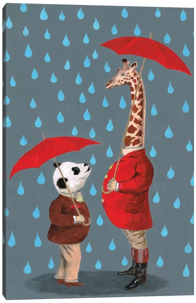 Panda And Giraffe Canvas Art Print