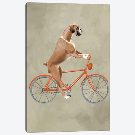 Boxer On Bicycle Canvas Print #COC5} by Coco de Paris Canvas Art