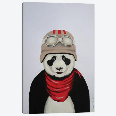 Panda With Helmet Canvas Print #COC60} by Coco de Paris Canvas Wall Art